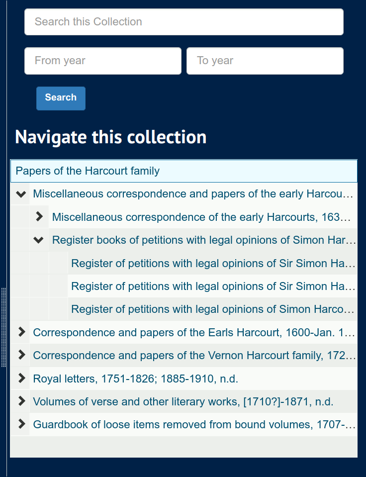 Screenshot of a 'Navigate this collection' tree, showing a typical hierarchical view of sub-records.